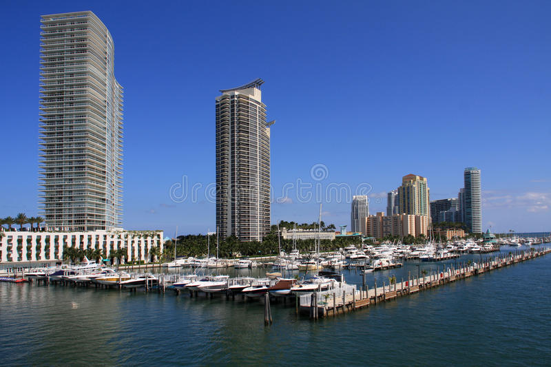 Condos along Miami Beach Marina. Luxury buildings and Miami Beach Marina on South Beach along Atlon Road royalty free stock photos