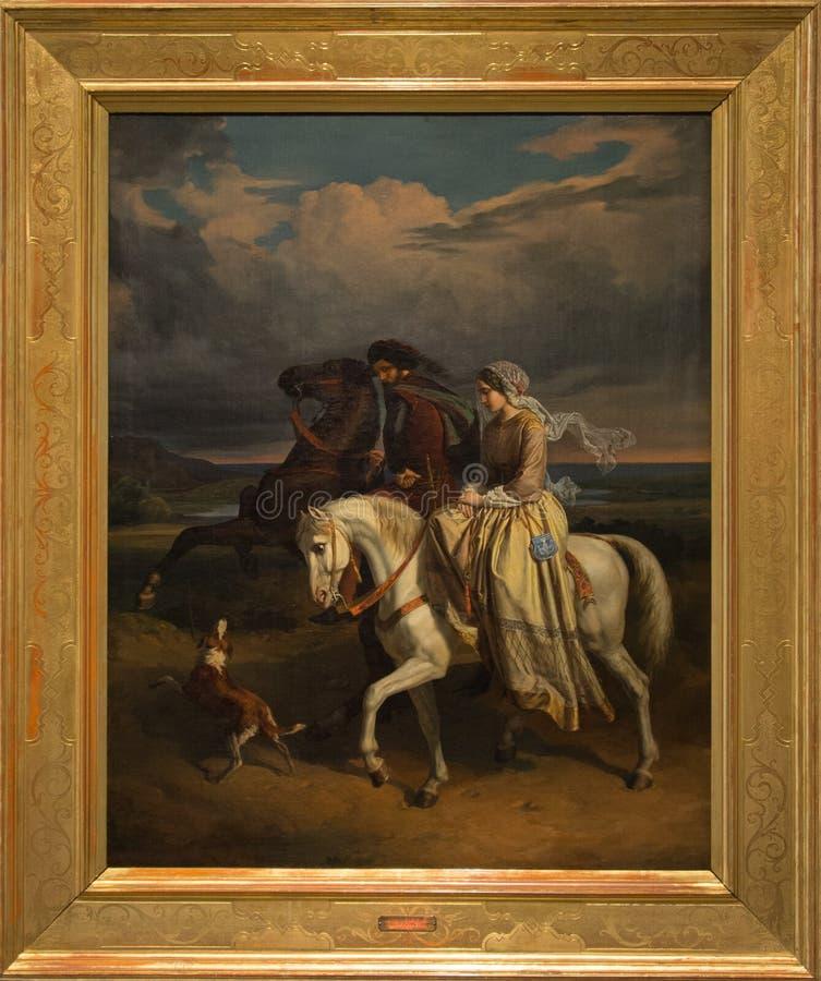 Condotta de Tolomei de dei de pia de ` dans le ` 1853 de Maremma par Pompeo Marino Molmenti image stock