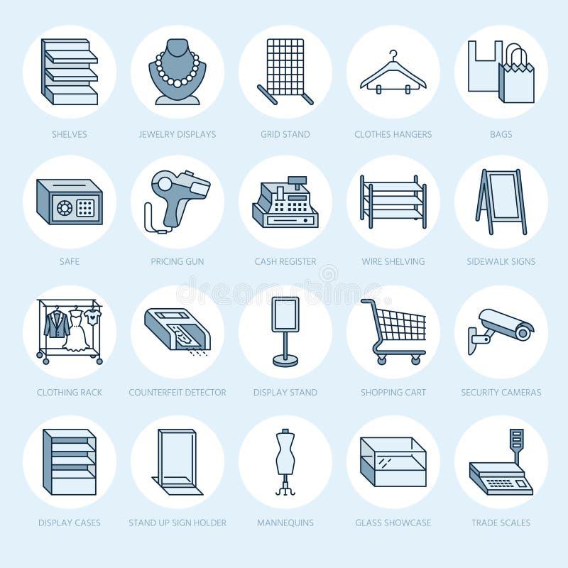 Condotto di alimentazioni della vendita al dettaglio icone Segni commerciali dell'attrezzatura del negozio Oggetti commerciali -  royalty illustrazione gratis
