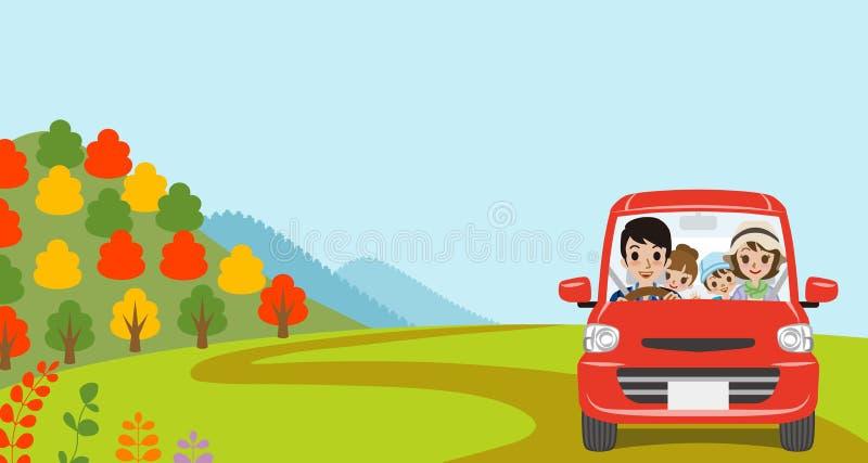 Condução de carro na natureza do outono, família nova - vista dianteira ilustração do vetor