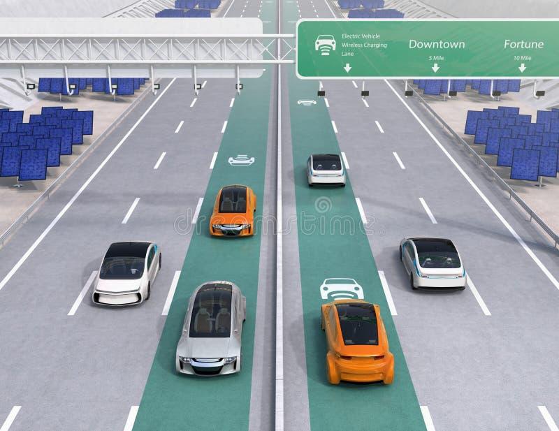 Condução de carros bondes na pista de carregamento sem fio da estrada ilustração stock