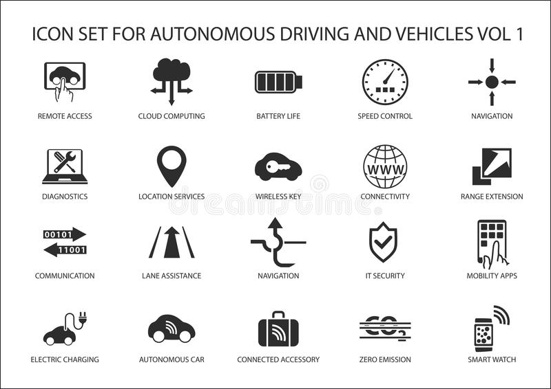 Condução do auto e ícones dos veículos autônomos ilustração royalty free