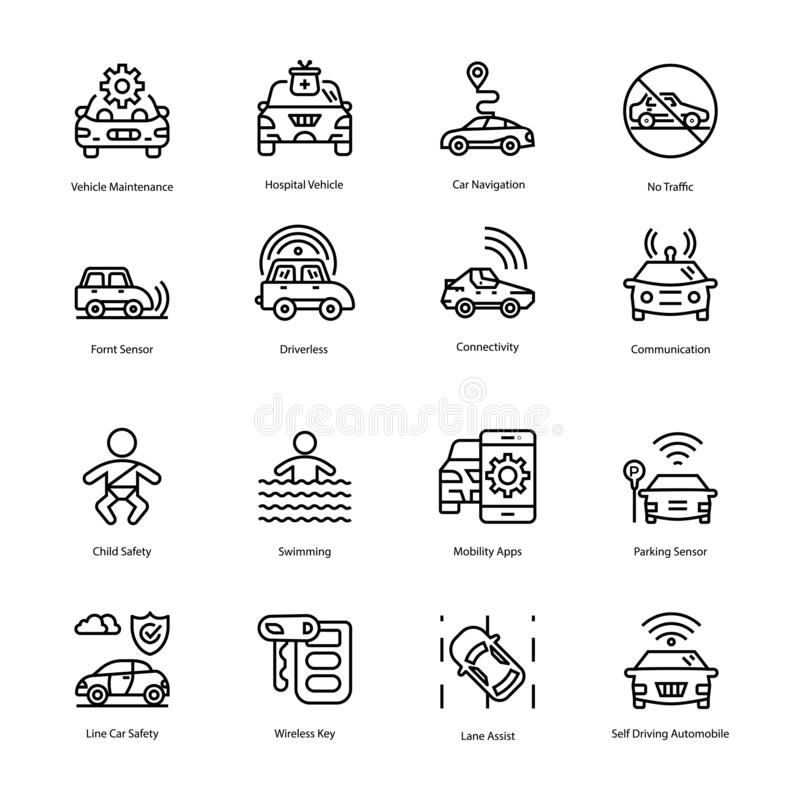 Condução e linha ícones do detector do carro fotografia de stock