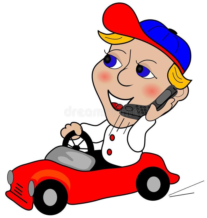 Condução em um telefone de pilha ilustração do vetor