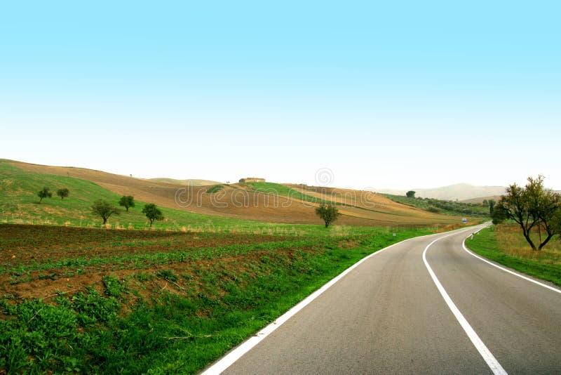 Condução em uma estrada verde imagens de stock royalty free