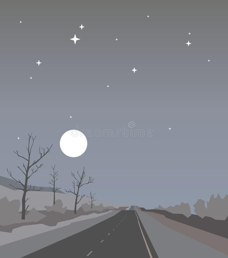 Condução para baixo à montanha na estrada da noite sob o céu nebuloso com estrelas e Lua cheia Paisagem do nivelamento atrasado d ilustração do vetor