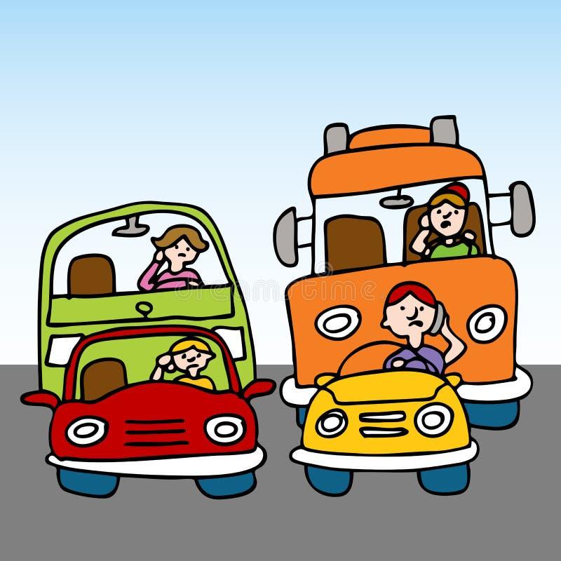 Condução perigosa ao usar o telemóvel ilustração do vetor