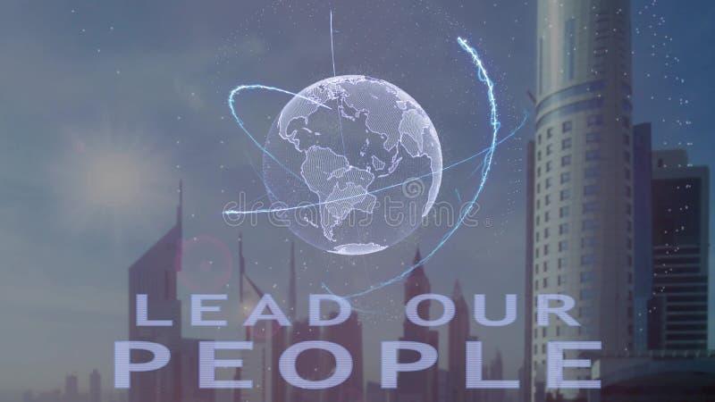Conduca la nostra gente mandano un sms a con l'ologramma 3d del pianeta Terra contro il contesto della metropoli moderna illustrazione di stock
