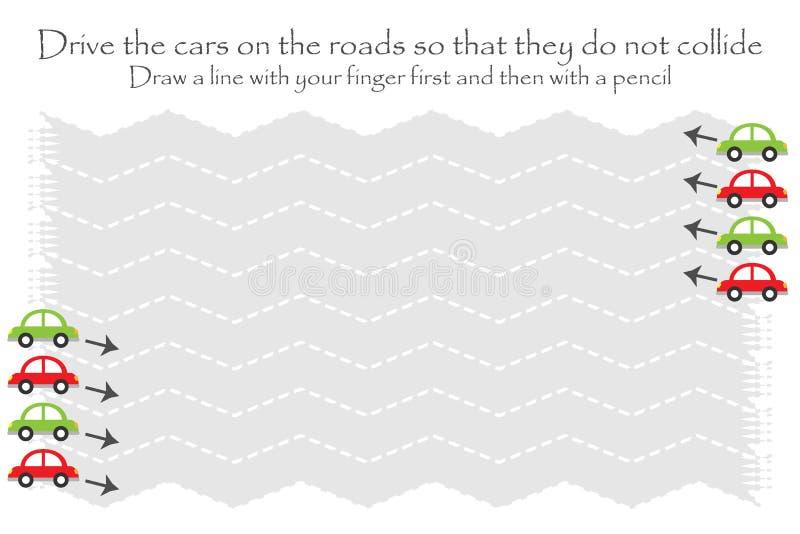 Conduca le automobili sulla strada in due direzioni, lo strato di pratica della scrittura di zigzag, l'attività prescolare dei ba illustrazione vettoriale