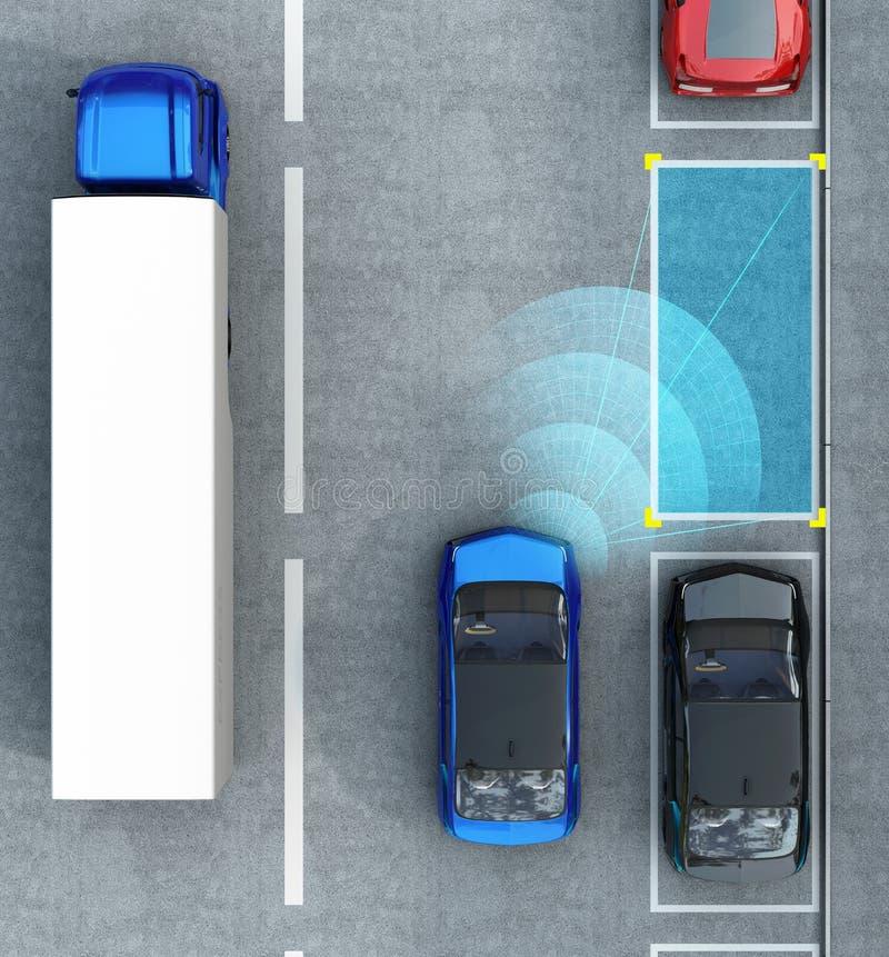 Conducción de automóviles eléctrico azul en estacionamiento con el sistema de la ayuda del estacionamiento stock de ilustración