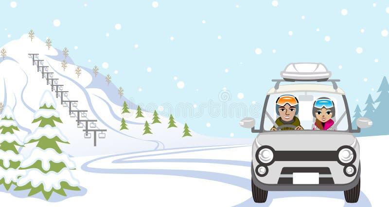 Conducción de automóviles a Ski Slope, par joven - vista delantera stock de ilustración