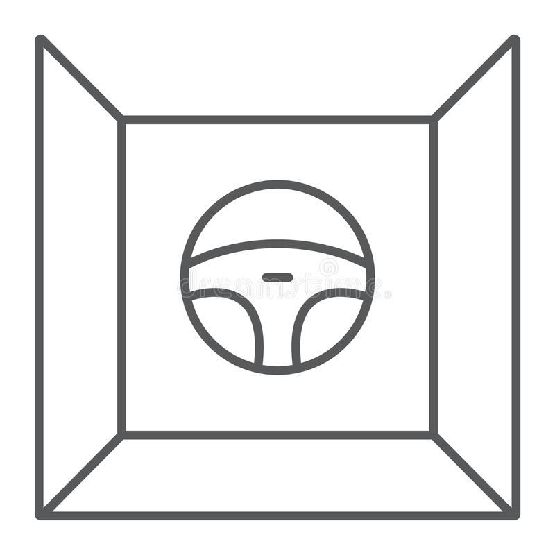 Conducci?n de la l?nea fina icono del simulador, del juego y de la impulsi?n, muestra del volante, gr?ficos de vector, un modelo  ilustración del vector