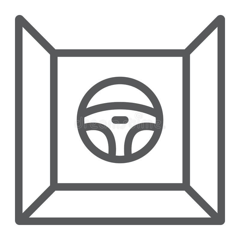 Conducci?n de la l?nea icono del simulador, del juego y de la impulsi?n, muestra del volante, gr?ficos de vector, un modelo linea stock de ilustración