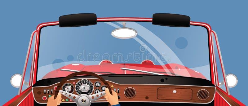 Conducción de un auto convertible libre illustration