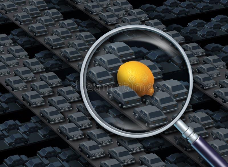 Conducción de un concepto del coche del limón stock de ilustración
