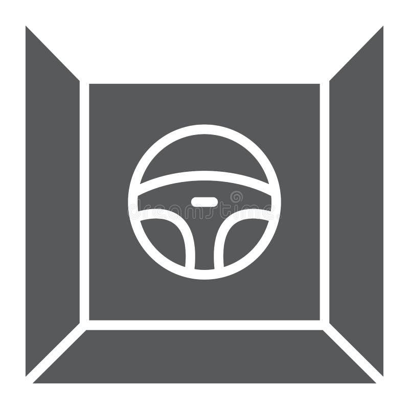 Conducci?n del icono del glyph del simulador, del juego y de la impulsi?n, muestra del volante, gr?ficos de vector, un modelo s?l ilustración del vector