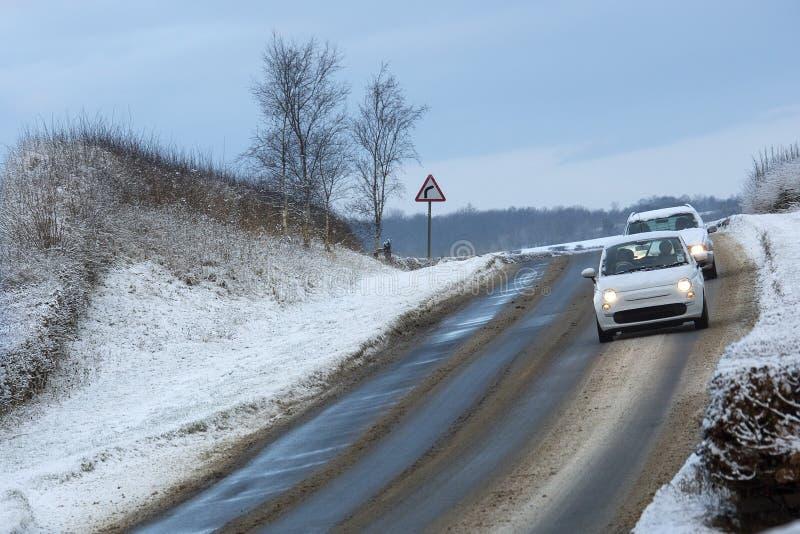 Conducción del invierno - el amanecer en la York del norte amarra foto de archivo libre de regalías