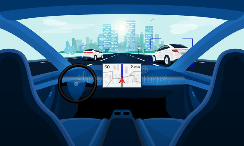 Conducción Driverless elegante autónoma del uno mismo del coche Opinión interior del tablero de instrumentos del coche sobre el c stock de ilustración
