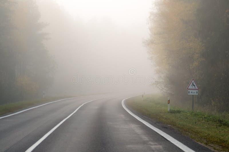 Conducción en el camino del campo en niebla Ejemplo de peligros de d fotografía de archivo libre de regalías