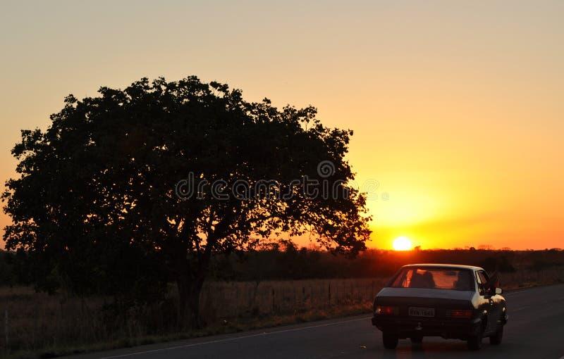 Conducción en puesta del sol imagenes de archivo