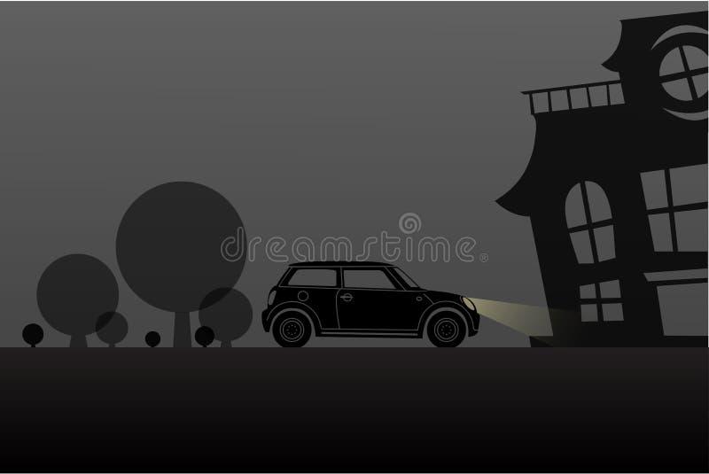 Conducción a la silueta de Halloween de la escena de la noche de la casa encantada ilustración del vector