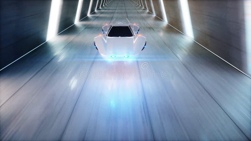 Conducción rápida del coche futurista del vuelo en el túnel del fi del sci, coridor Concepto de futuro representación 3d libre illustration