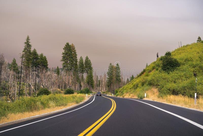 Conducción a través del parque nacional de Yosemite; cielo cubierto por el humo imagenes de archivo