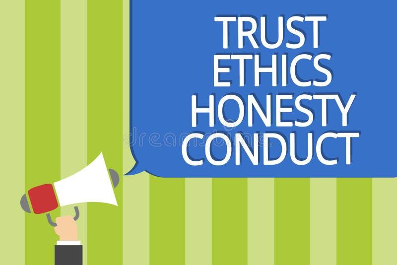 Conducta de la honradez de los éticas de la confianza del texto de la escritura de la palabra El concepto del negocio para implic stock de ilustración