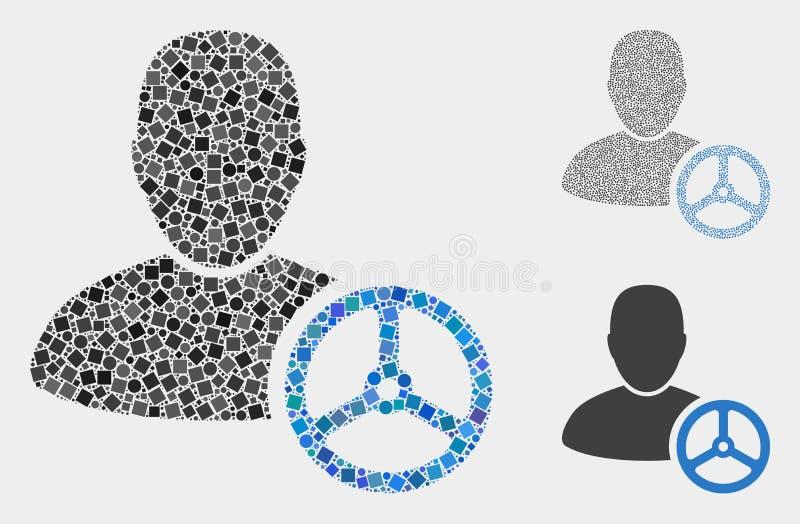 Conducteur Man Icon Mosaics des places et des cercles illustration stock
