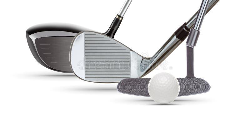 Conducteur Wood de golf, cale de fer, putter et boule sur le fond blanc photo libre de droits