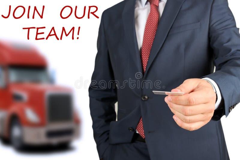 Conducteurs de invitation/de location d'homme d'affaires nouveaux à la société de camion photographie stock