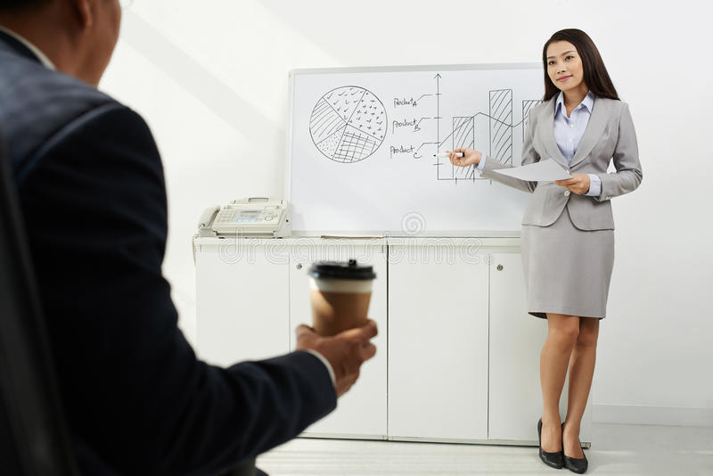 Conducting business presentation. Attractive financial manager conducting presentation for her chief stock photography