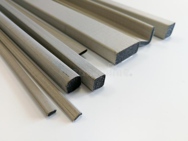Conductive shielding gaskets for electromagnetic emissions shielding. Conductive shielding gaskets for reducing electromagnetic emissions EMI isolated on the stock photos