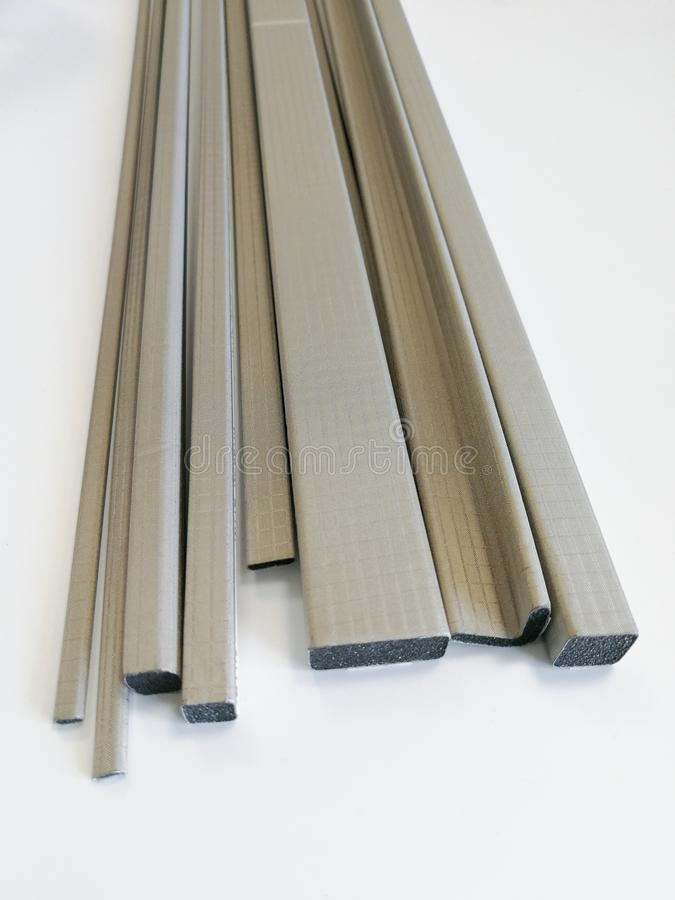 Conductive shielding gaskets for electromagnetic emissions shielding. Conductive shielding gaskets for reducing electromagnetic emissions EMI isolated on the stock images
