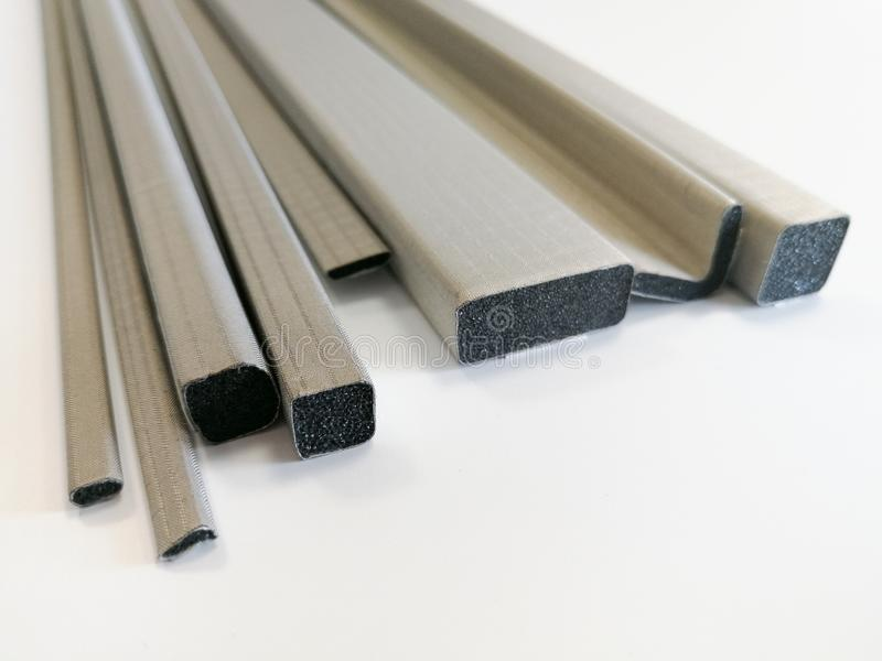 Conductive shielding gaskets for electromagnetic emissions shielding. Conductive shielding gaskets for reducing electromagnetic emissions EMI isolated on the stock photography