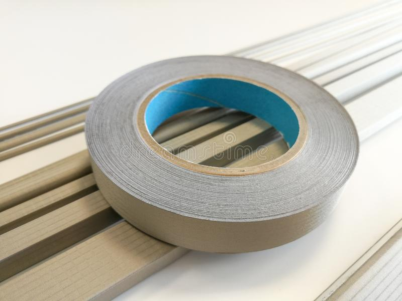 Conductive shielding gaskets for electromagnetic emissions shielding. Conductive shielding gaskets for reducing electromagnetic emissions EMI isolated on the stock photo