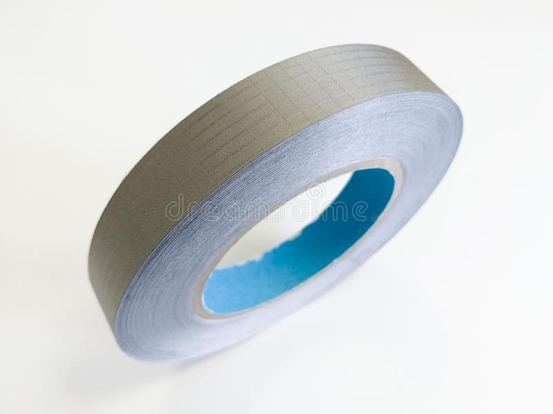 Conductive textile tape for electromagnetic compatibility of electronics. Conductive shielding textile tape for reducing electromagnetic emissions EMI isolated stock photo