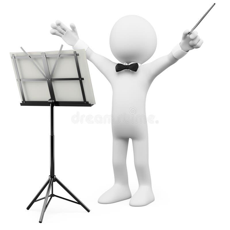 conductor 3D que lleva a la orquesta ilustración del vector