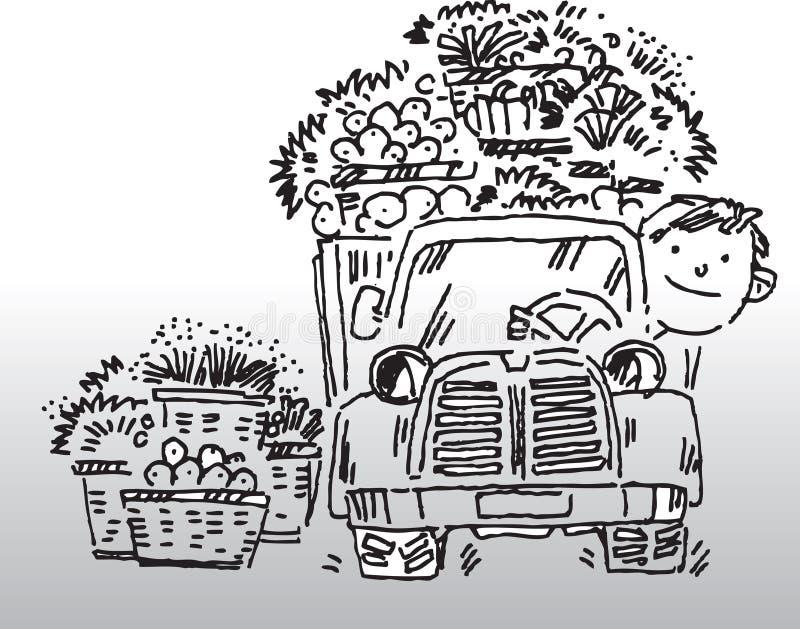 Conductor de camión stock de ilustración