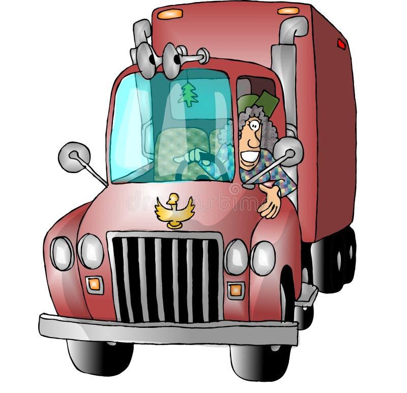 Conductor de camión de sexo femenino ilustración del vector
