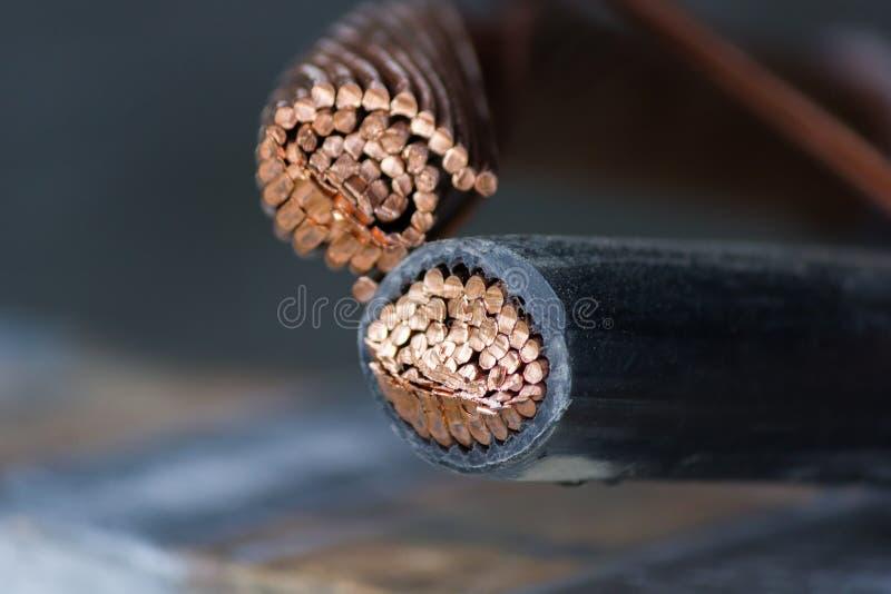 Conductor de cobre de alto voltaje del cable de transmisión imagen de archivo libre de regalías