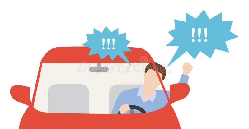 Conductor de coche enojado stock de ilustración