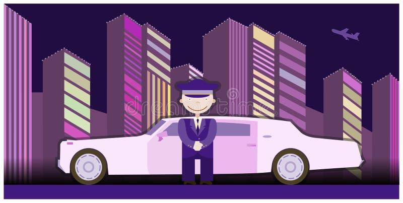 Conductor de la limusina que se coloca derecho delante del coche stock de ilustración