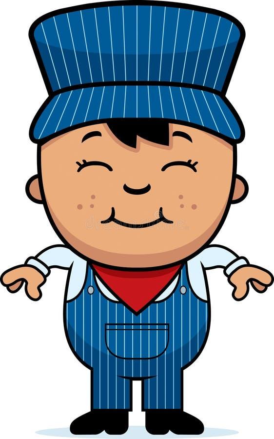 Conductor de tren del muchacho stock de ilustración