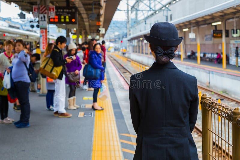 Conductor de tren japonés no identificado fotos de archivo libres de regalías