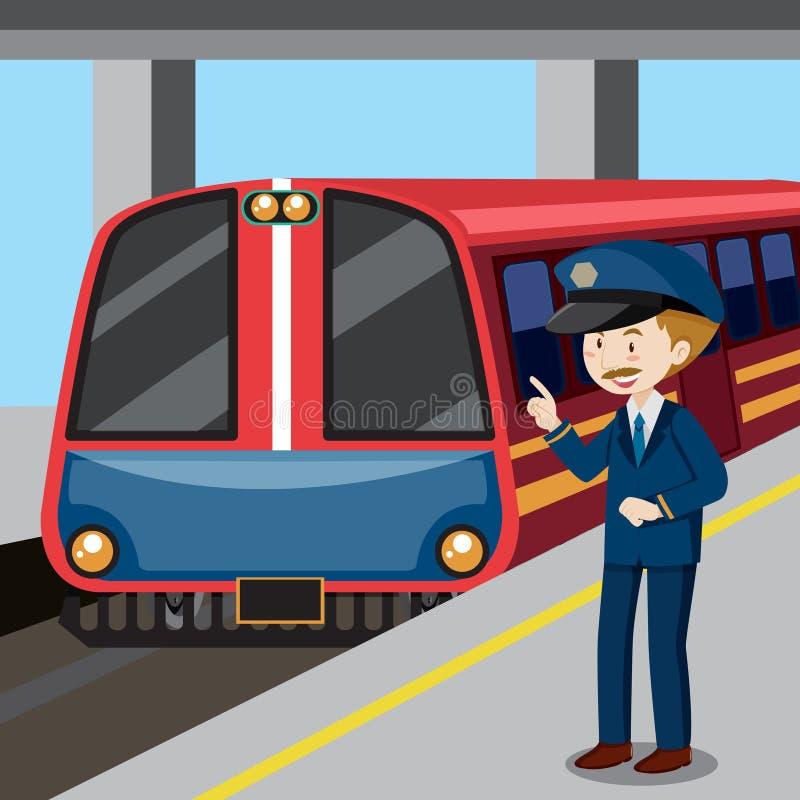 Conductor de tren y tren stock de ilustración