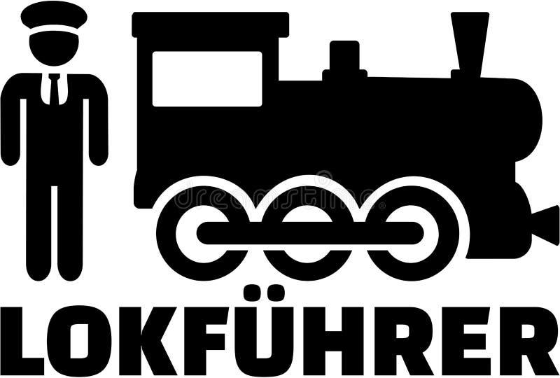 Conductor del tren con la locomotora y el cargo alemán libre illustration
