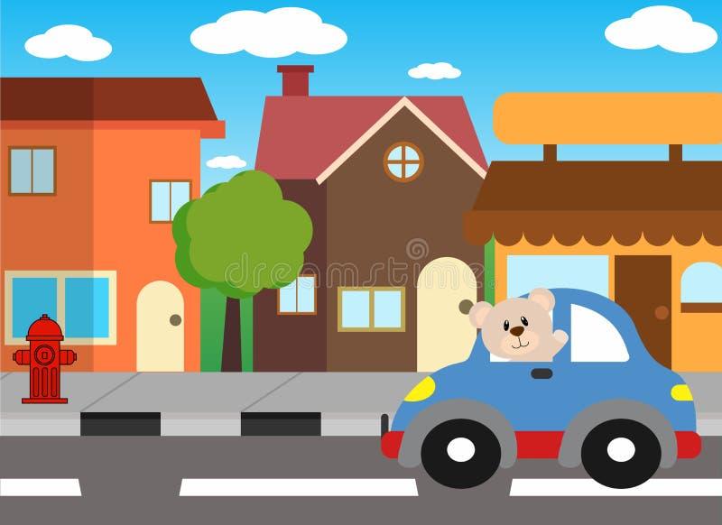 Conductor en la ciudad, ejemplo de los animales de la historieta del vector libre illustration