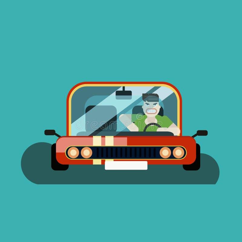 Conductor enojado del hombre en el coche ilustración del vector
