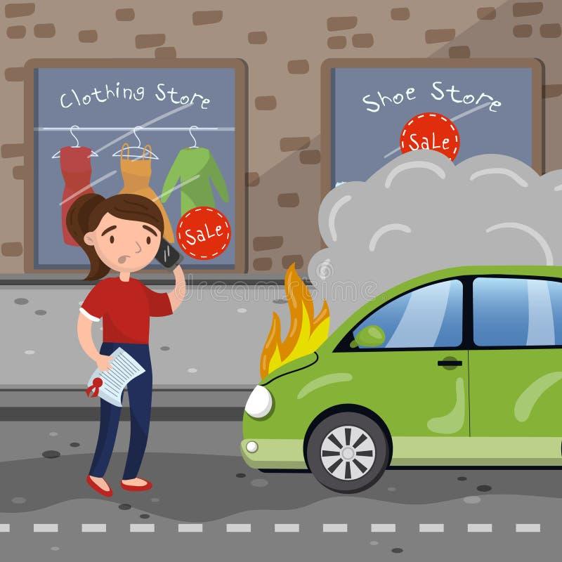 Conductor femenino que pide ayuda después de accidente de tráfico, coche ardiente, ejemplo del vector de la historieta del seguro libre illustration
